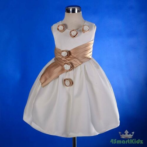 50/% OFF SALE Rosette Cream Champagne Satin Formal Dress Wedding Baby Size 0 #225