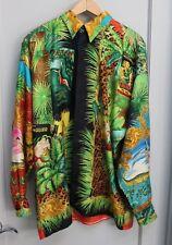 Vintage Mens Gianni Versace Silk shirt Jungle Tarzan size 48 1993 black orange