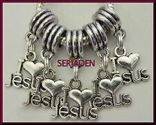 5 I Love Jesus Dangle Charm Silver Plated Fits European Style Bracelet S186