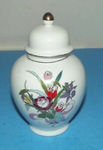 "Vase Urn w Lid Asian White Ceramic with Flowers 6"" tall Jar with Gold Trim"