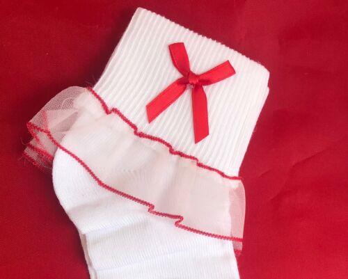 3 Pack Ex-Store Pretty Girl Blanco Encaje Top Bordado Calcetines al tobillo Extra Suave