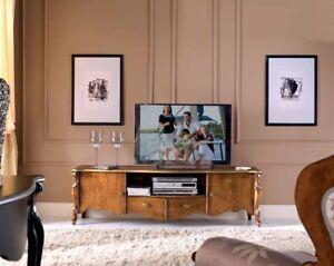 MOBILE BASSO PORTA TV IN LEGNO NOCE E FOGLIA ORO ARREDAMENTO ...