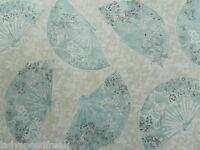 Sanderson Curtain Fabric KIKI 5.4m Duck Egg/Cream Oriental Fan Design - Cotton