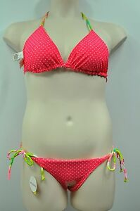 d31fcebd5c4bd Image is loading SO-Floral-Polka-Dot-Pink-Green-Reversible-Bikini-