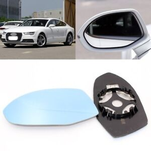 Right Driver side wing mirror glass for Audi A7 2010-2017 heated Blue