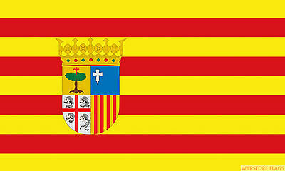 """Spain with Crest Flag mini small 9/""""x6/"""" 22cm x 15cm Polyester Sleeved"""