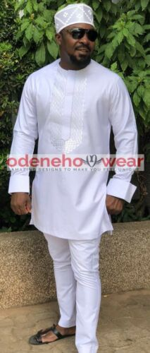Odeneho Wear White Polished Cotton Outfit Hat// Embroidery.African Clothing.