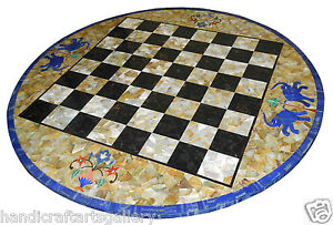 """36"""" Blue Marble Chess Coffee Table Top Lapis Elephant Inlay Playroom Decor H2376"""