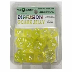 SET OF 15 POLYHEDRAL DICE: DIFFUSION OCHRE JELLY WITH WHITE NUMBERS-NEW