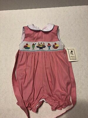 Creative Hot Pink 12 Month Bubble Romper With Ice Cream Design On Front Ties Button Back Outfits & Sets