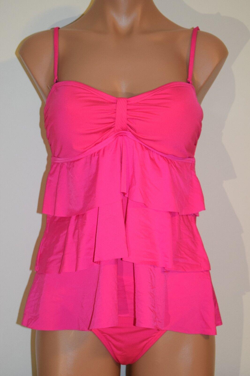 NWT Kenneth Cole Swimsuit Bikini 2pc Set Pink Straps Ruffled Sz L