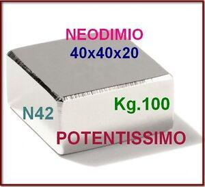 NEODIMIO-MAGNETE-40X40X20-mm-100-KG-CALAMITA-CALAMITE-MAGNETI-Potente