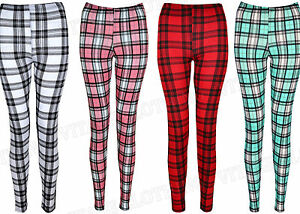 Womens-Tartan-Print-Full-Length-Leggings-Plus-Size-Check-Trousers-Size-8-22-NEW