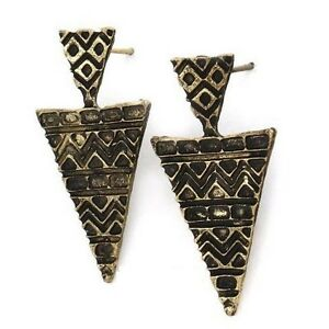 Bronze-Geometric-Aztec-Triangle-Drop-Stud-Earrings-Tribal-Ancient