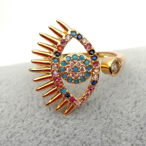 Evil Eye Colorful CZ PAVED Ring pour femmes Bohême Boho Ring Partitions