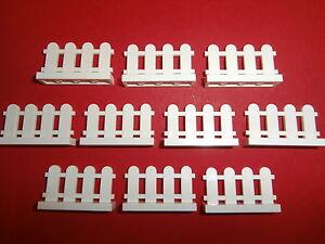 LEGO-10-weisse-ZAUNE-1x4-Noppen-NEU
