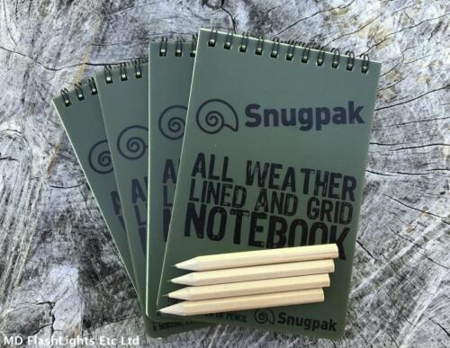 4 X Snugpak Allwetter Wasserfest Gitter /& Liniert Notebook Notepad Outdoor
