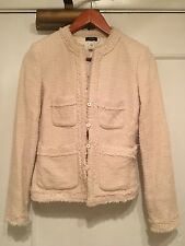 J.Crew Cream Tweed Wool Blazer Jacket Off White Fringe Button Holiday Size 2