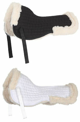 SHIRES 4353 HALF PAD FULL FLEECED LINED SADDLE PAD BLACK/WHITE show jumping full