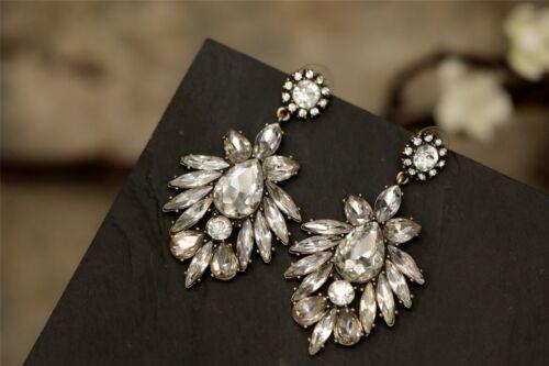 Boucles d/'Oreilles Clips Art Deco Cristal Fleur Retro Original Mariage Cadeau X6
