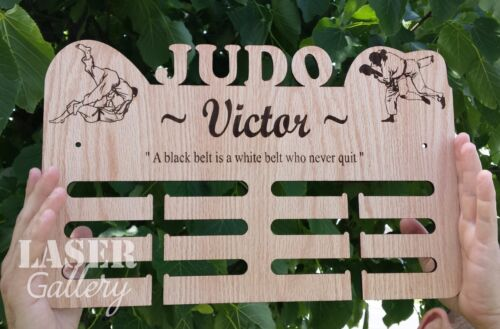 Custom JUDO 16x9 Wooden Medal Hanger, Personalized Laser Cut Medal Display Rack