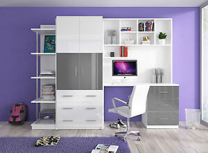Details zu Jugendzimmer Kinderzimmer MATI - Hochglanz weiß /grau /rosa  /schwarz / violett