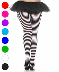 f55ddf1e69f48 Image is loading Plus-Size-Opaque-Striped-Tights-Music-Legs-7471Q