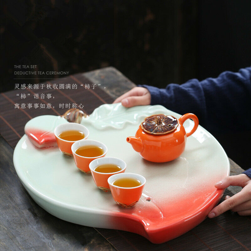Porcelaine Tea Jeu Pêche Forme Thé Plateau Persimmon tea pot Creative Kungfu tea set