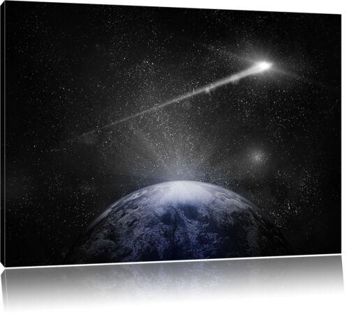 Sternschnuppe fliegt über Erde Leinwandbild Wanddeko Kunstdruck
