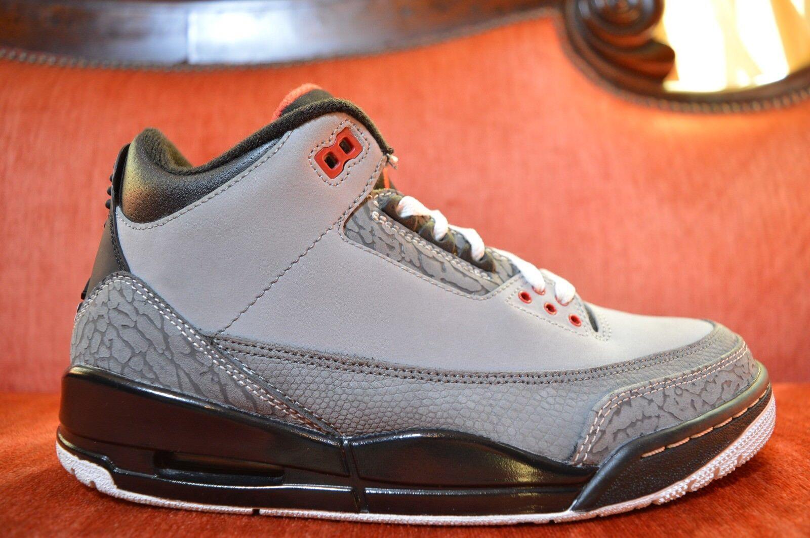 WORN 2X Nike Air Jordan 3 III Retro Stealth Cool Grey Black 136064-003 Size 7.5