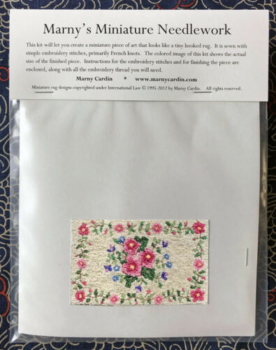 /' by Marny Cardin on Ecru /'Mixed Flowers Miniature Needlework Kit