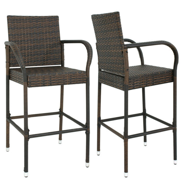 White Modern Desk Chair, Sundale Outdoor 2 Pcs Brown Wicker Counter Height Bar Stool With Cushions All For Sale Online Ebay