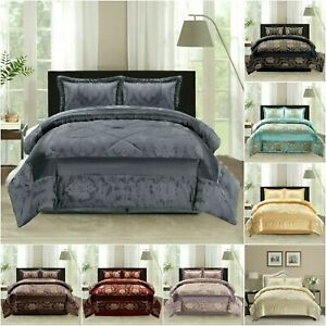 Luxury Bedspread 3 Piece Jacquard Bedspread Quilted Comforter Set Double King Ebay