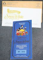 Disney's Snow White and the Seven Dwarfs 50th Anniversary Coin 1987 & Ticket