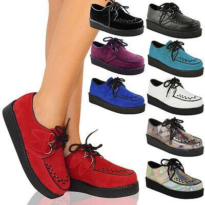 NEW LADIES WOMENS CREEPER GOTH PUNK PLATFORM LACE UP SHOES FLAT SIZE