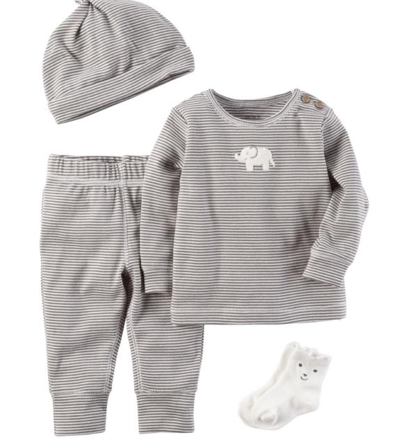 Carters Baby Boy Clothes 6 9 Months 4-Piece Babysoft Take-Me-Home Set Hat  Socks