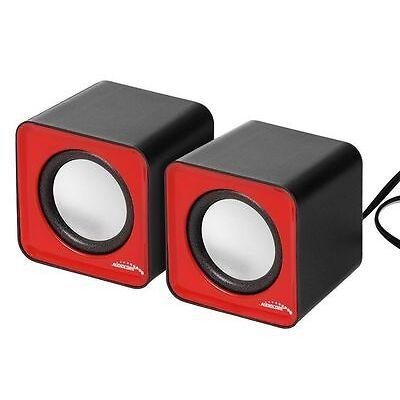 Audiocore AC870 6W USB haut-parleurs d'ordinateur 60x54x61mm audio rouge ou noir