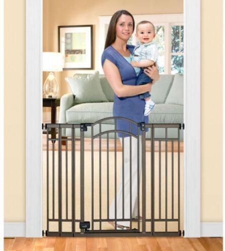 Baby Gate Pressure Mounted Extra Tall Walk Through Doorway Metal Child Pet Fence