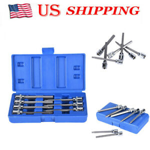 "10mm Long Ball Ended Hex Allen Key Socket Bit Set 3//8/"" Drive 3mm"
