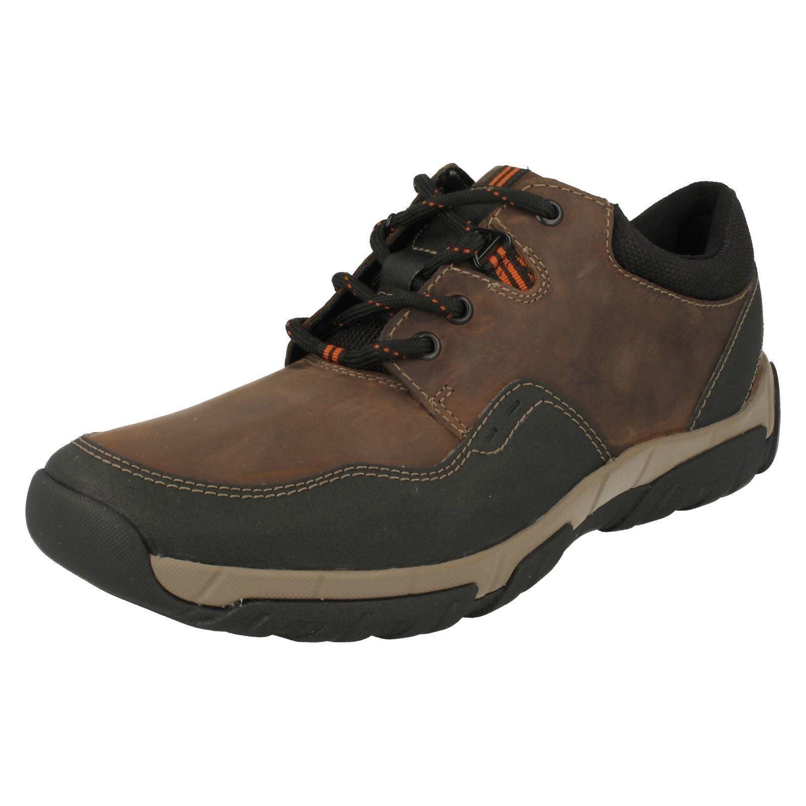 Clarks 'Walbeck Edge' Herren braune Schnürschuhe Leder wasserfest Schuhe G