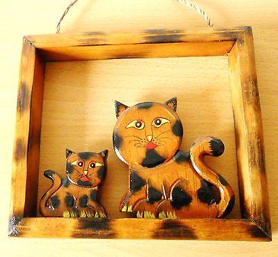 Miele Portafoto Benedetti Coppia Gatti In Legno Decorazione Animale Gatto 17,5 X 15 Cm- Prestazioni Affidabili
