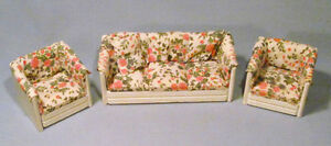 Dollhouse Hand-Crafted Wood & Floral Print Fabric Sofa & Two Matching Chairs