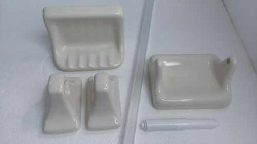 Beige Ceramic Soap Dish Tray Towel Bar Holders TP Holder Biscuit Off White Retro