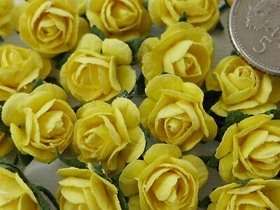 100 Cute Mulberry Paper Roses - 10mm - Lovely Easter Yellow Rose Embellishments!