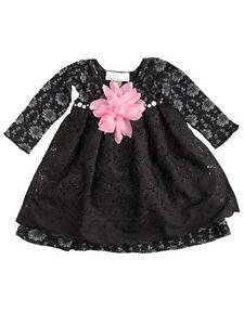 Baby girls black print jersey party dress toni tierney sizes 12m 18m