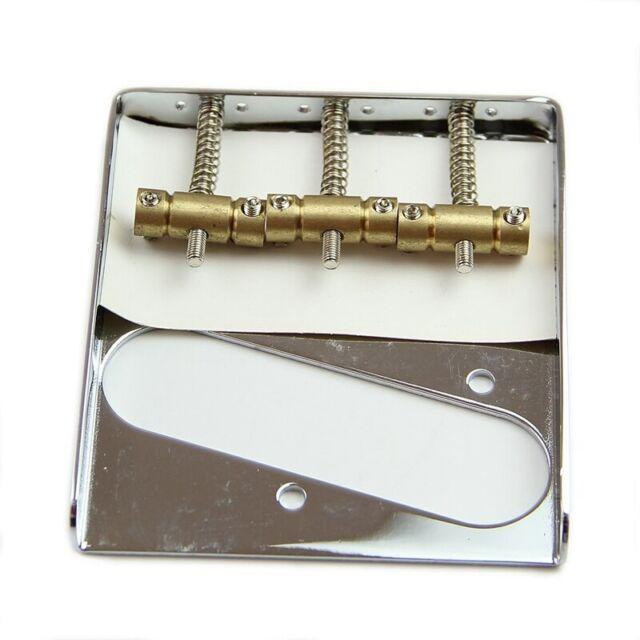 Silver Chrome 3 Copper Saddle Ashtray Bridge For Telecaster TELE Electric  B3V5