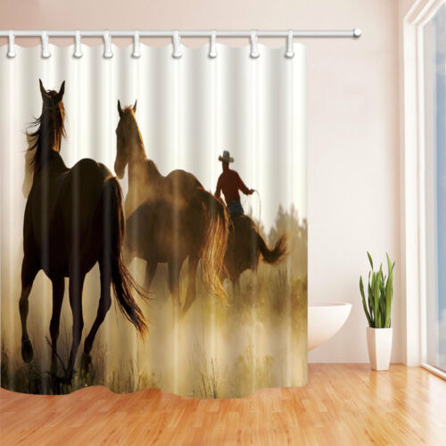 Western cowboy and horse Waterproof Fabric Shower Curtain Plastic Hooks 71inch