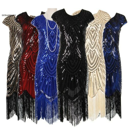 1920s Womens Flapper Great Gatsby Party Dress V-Neck Sequin Fringe Midi Dresses