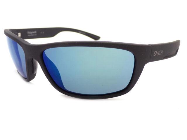c2da7db11a2e SMITH Ridgewell Polarized Sunglasses Matte Black / Polarised Blue Mirror  DL5 QG