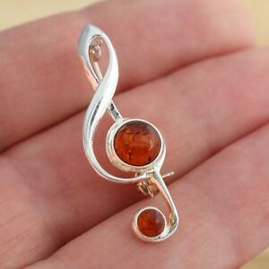 Baltic-Amber-925-Sterling-Silver-Treble-Clef-Music-Note-Brooch-Pin-Jewellery